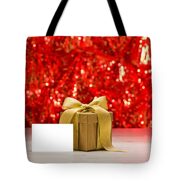 Tote Bag featuring the photograph Gold Present With Place Card  by Ulrich Schade