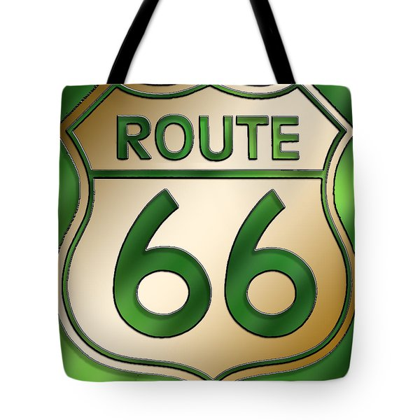 Tote Bag featuring the digital art Gold Route 66 Sign by Chuck Staley