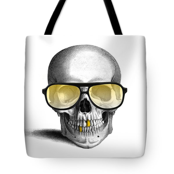 Skull With Gold Teeth And Sunglasses Tote Bag