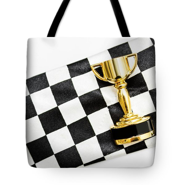 Gold Trophy On A Checked Sport Flag Tote Bag