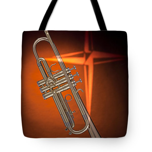 Gold Trumpet With Cross On Orange Tote Bag
