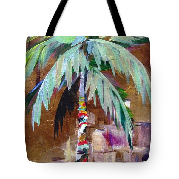 Golden Amethyst Palm Tote Bag