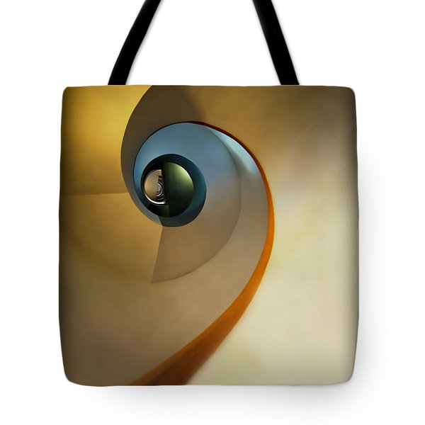 Tote Bag featuring the photograph Golden And Brown Spiral Staircase by Jaroslaw Blaminsky