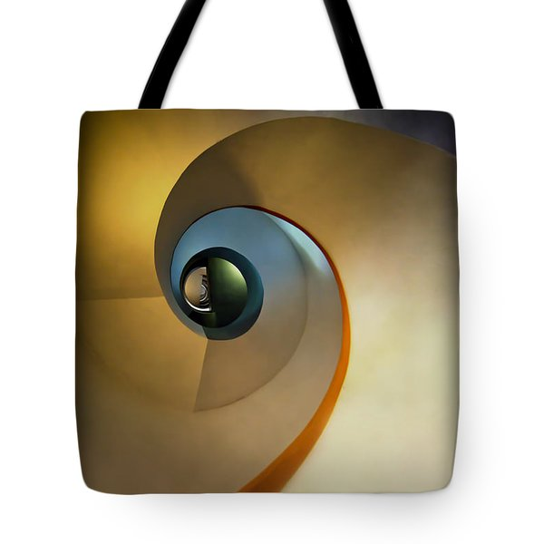 Golden And Brown Spiral Staircase Tote Bag
