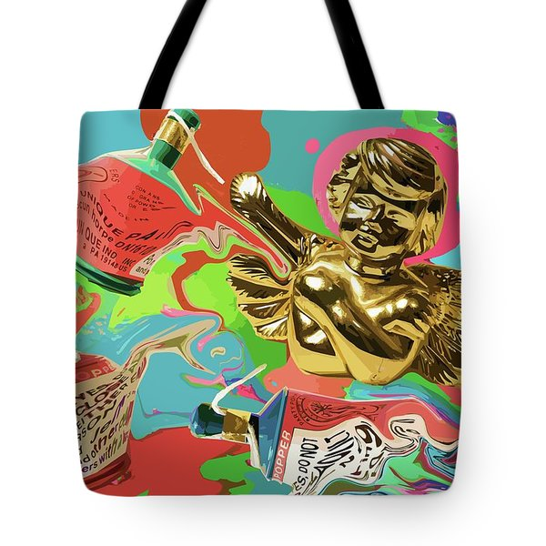Golden Angel With Party Poppers Tote Bag