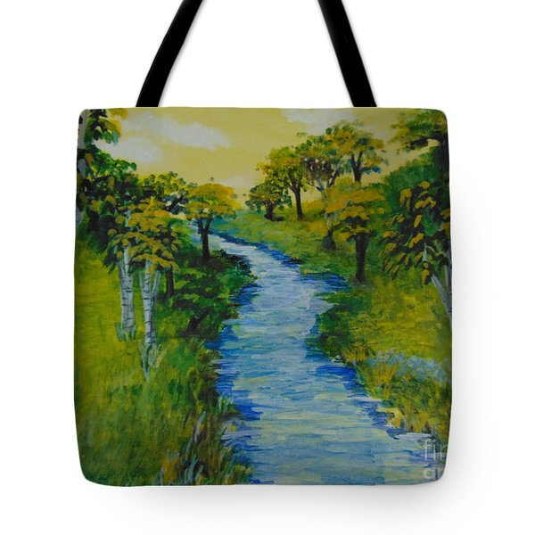 Tote Bag featuring the painting Golden Aspens by Saundra Johnson