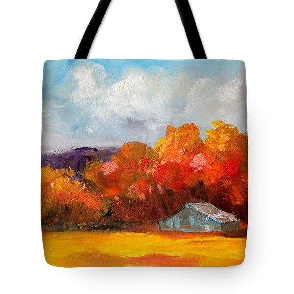 Golden Autumn Blue Country Horse Barn Tote Bag