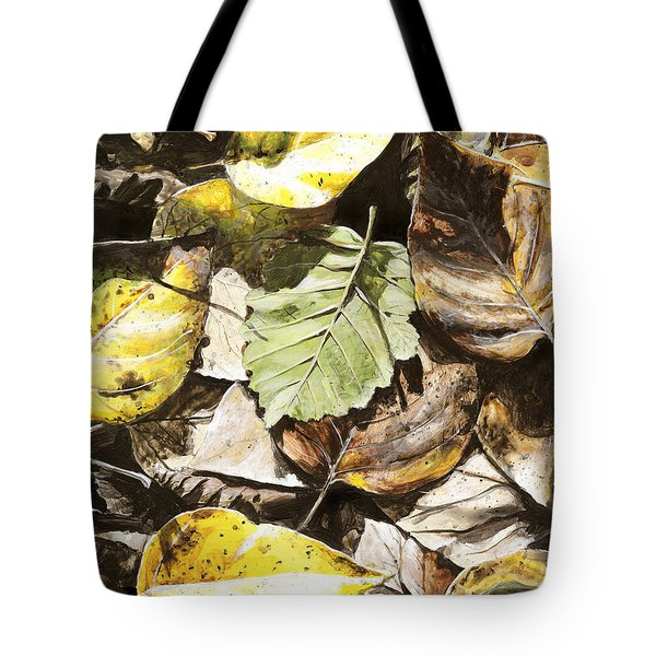 Tote Bag featuring the painting Golden Autumn - Talkeetna Leaves by Karen Whitworth