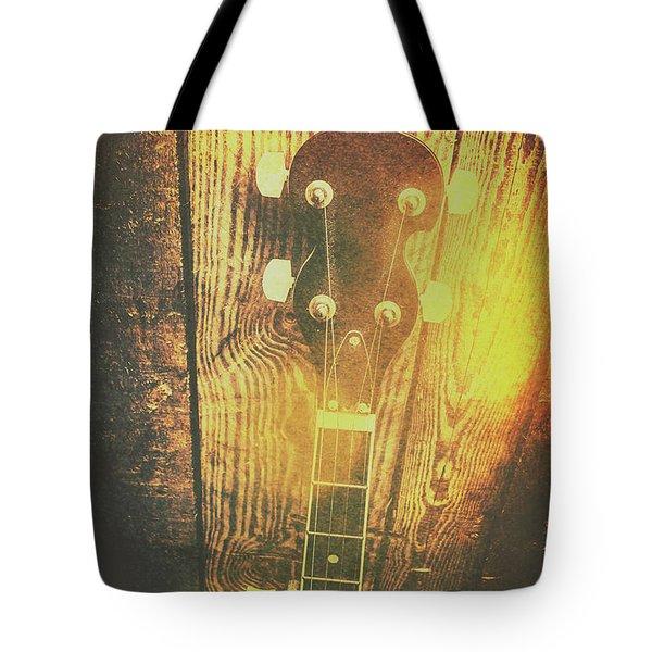 Golden Banjo Neck In Retro Folk Style Tote Bag