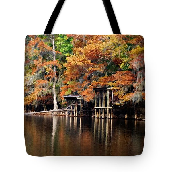Tote Bag featuring the digital art Golden Bayou by Lana Trussell