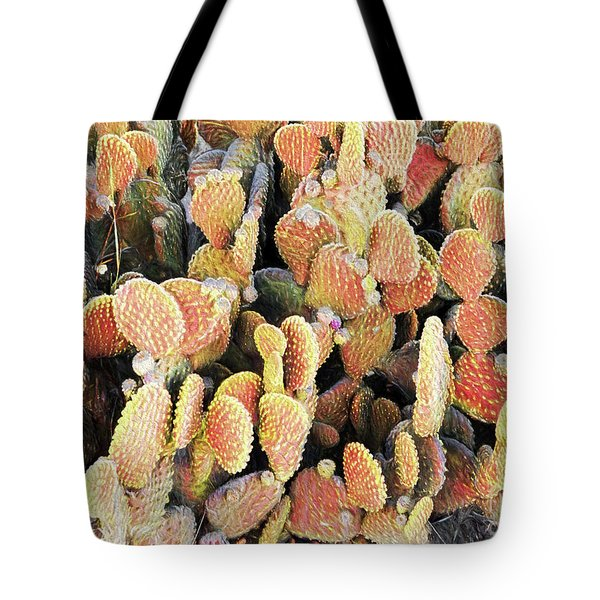 Tote Bag featuring the photograph Golden Beaver Tail Catcus by Linda Phelps