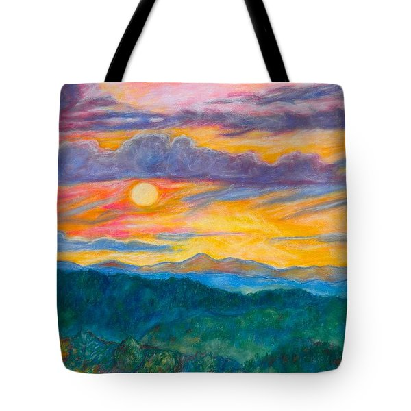 Tote Bag featuring the painting Golden Blue Ridge Sunset by Kendall Kessler