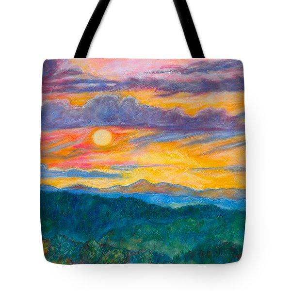 Golden Blue Ridge Sunset Tote Bag by Kendall Kessler