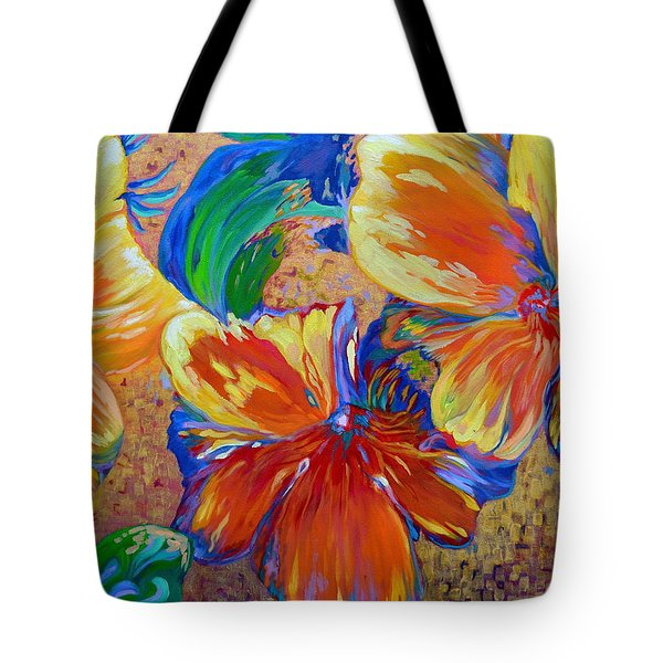 Golden Boiled Flowers Tote Bag