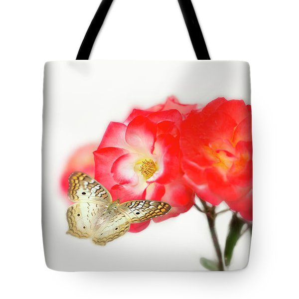 Golden Butterfly On Roses Tote Bag