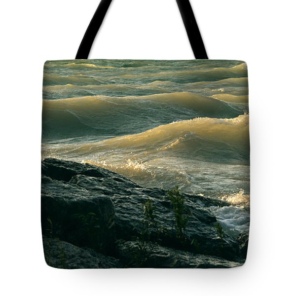 Golden Capped Sunset Waves Of Lake Michigan Tote Bag