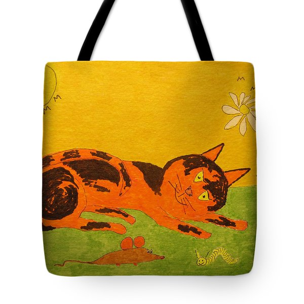 Golden Cat Reclining Tote Bag