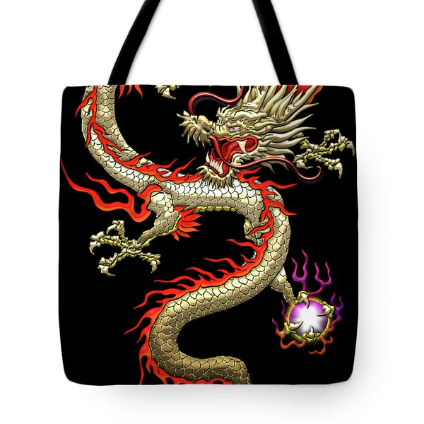 Golden Chinese Dragon Fucanglong On Black Silk Tote Bag