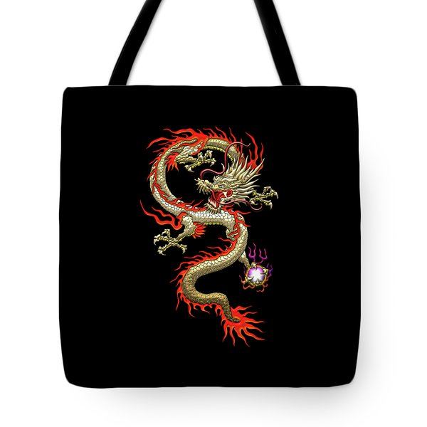 Golden Chinese Dragon Fucanglong On Black Silk Tote Bag