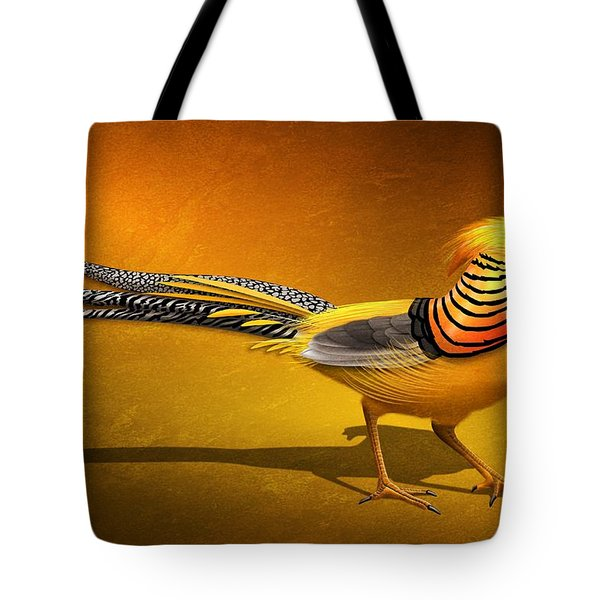 Golden Chinese Pheasant Tote Bag