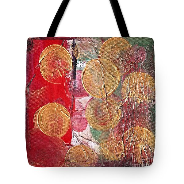 Golden Circles On Red And Green Tote Bag