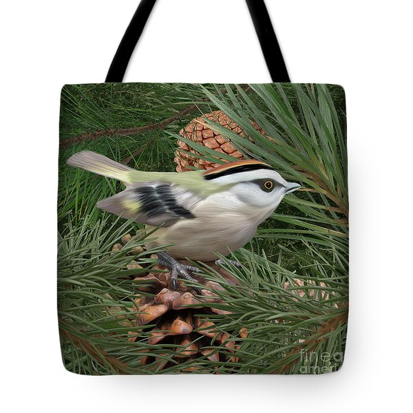 Golden Crowned Kinglet Tote Bag by Walter Colvin