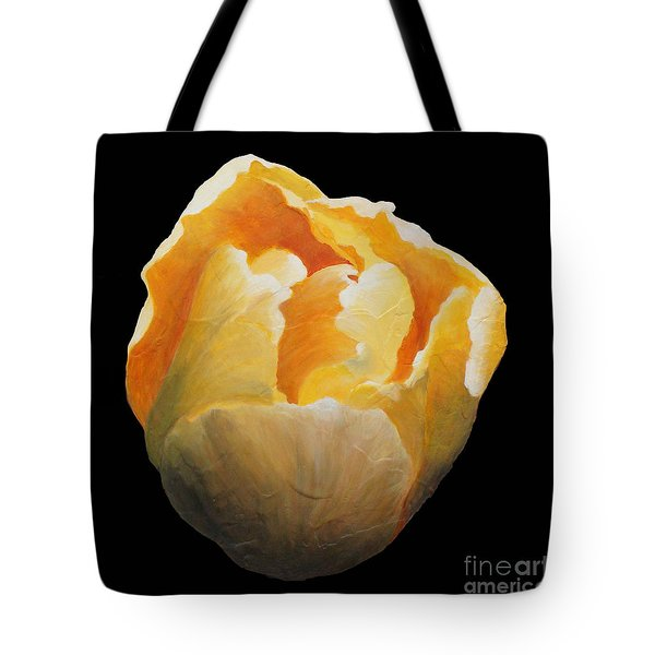 Tote Bag featuring the painting Golden Double Tulip by Phyllis Howard