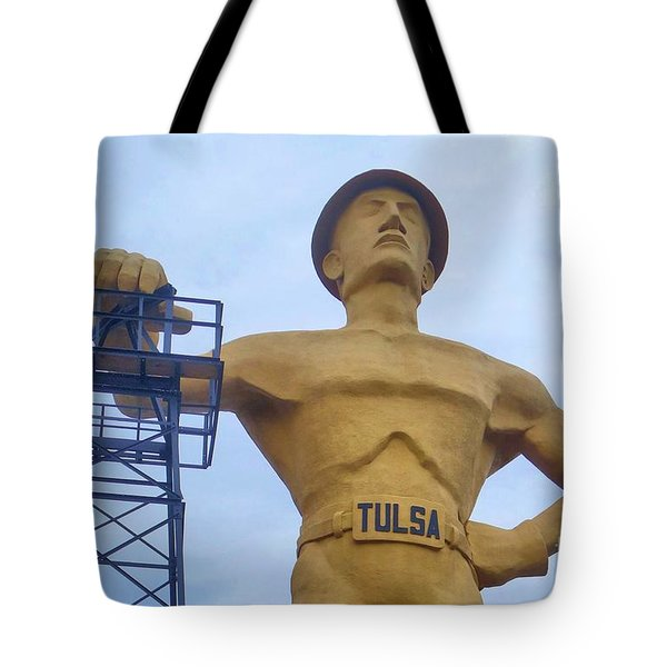 Golden Driller 76 Feet Tall Tote Bag