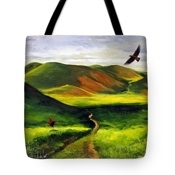 Golden Eagles On Green Grassland Tote Bag