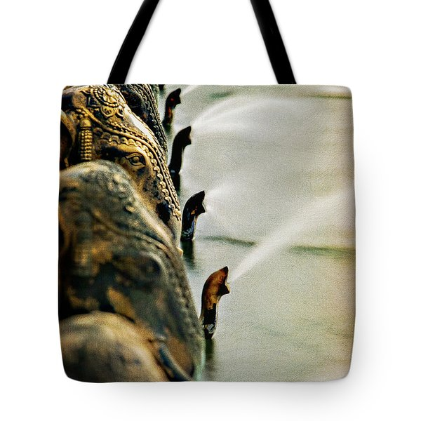 Golden Elephant Fountain Tote Bag