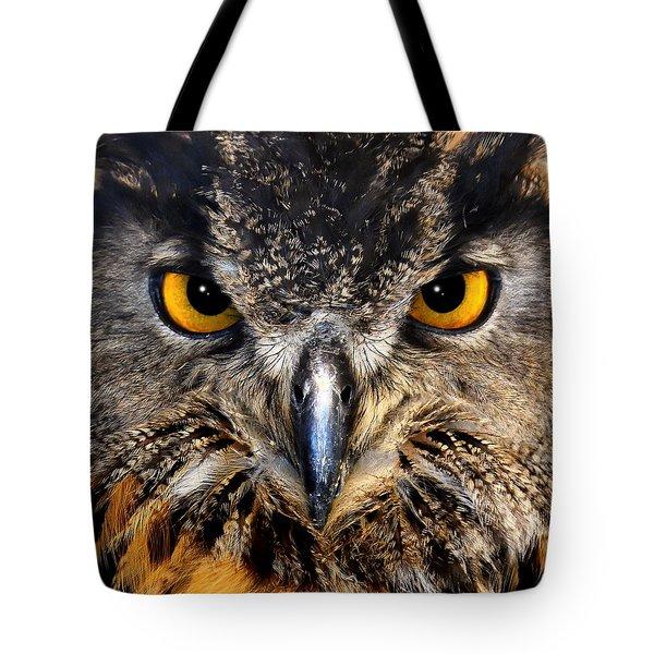 Golden Eyes - Great Horned Owl Tote Bag
