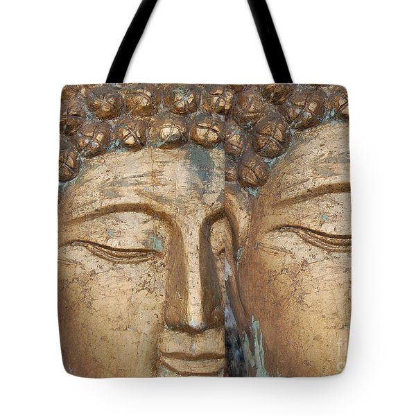 Golden Faces Of Buddha Tote Bag by Linda Prewer