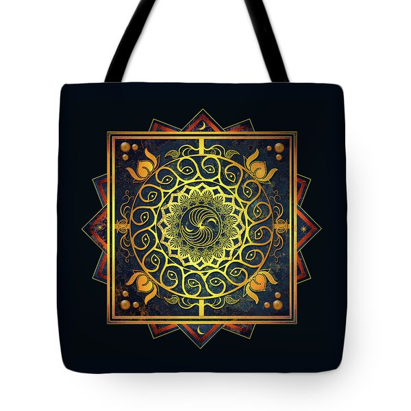Golden Filigree Mandala Tote Bag