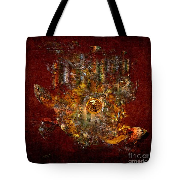 Tote Bag featuring the digital art Golden Fish In The Lake by Alexa Szlavics