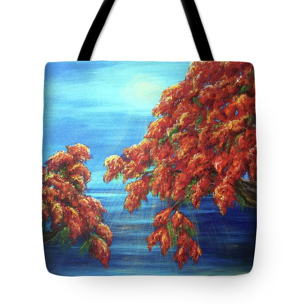 Golden Flame Tree Tote Bag