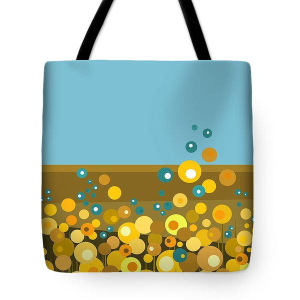 Golden  Flowers Tote Bag by Val Arie