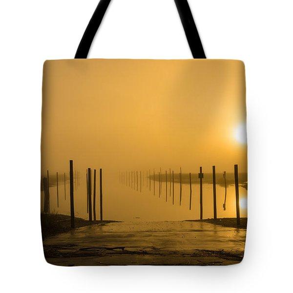 Golden Fog On The Nissequogue Tote Bag