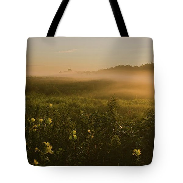 Golden Fog Sunrise At The Refuge Tote Bag