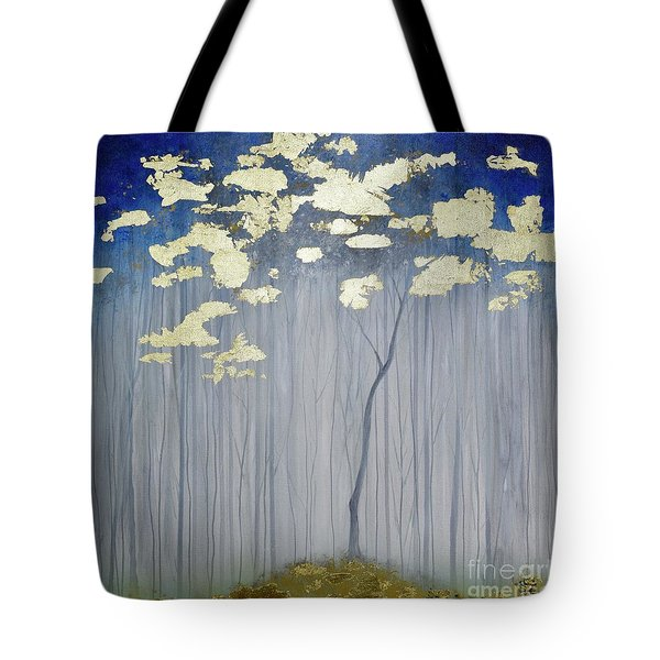 Tote Bag featuring the painting Golden Forest by Mary Scott