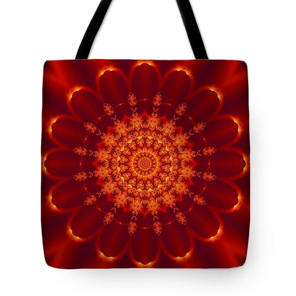 Golden Fractal Mandala Daisy Tote Bag