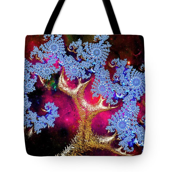 Tote Bag featuring the digital art Golden Fractal Tree by Michele A Loftus