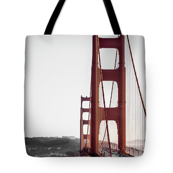 Golden Gate Black And Red Tote Bag