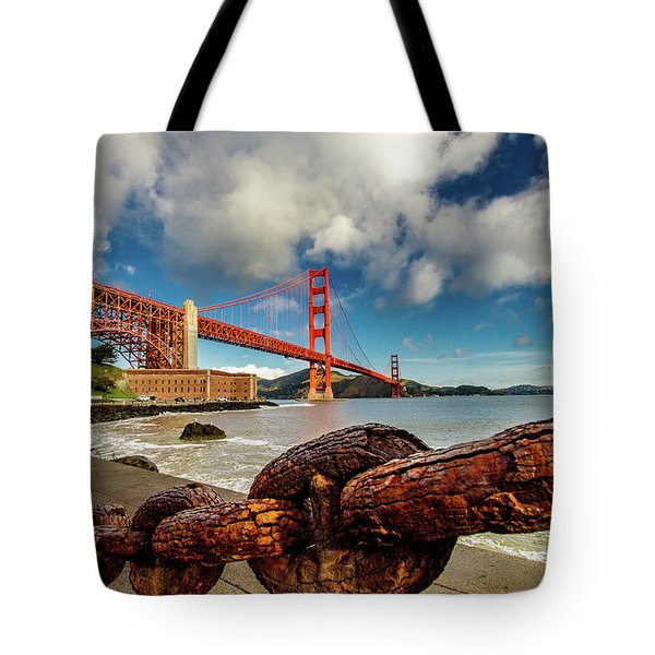 Tote Bag featuring the photograph Golden Gate Bridge And Ft Point by Bill Gallagher