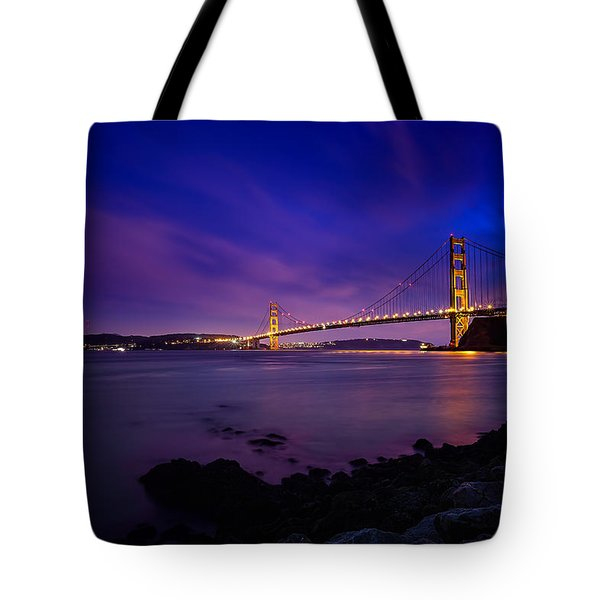 Golden Gate Bridge At Night Tote Bag