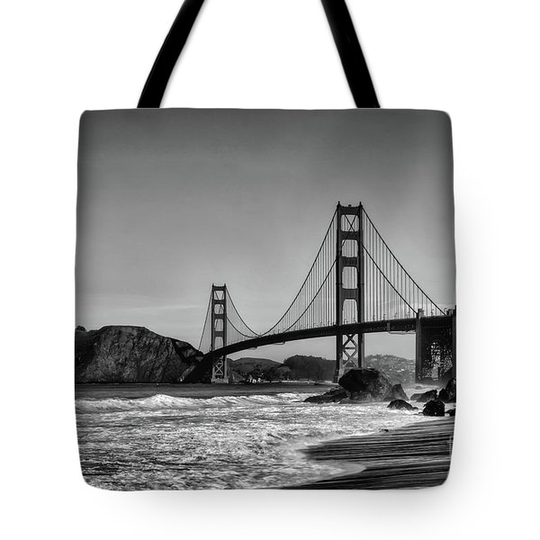 Golden Gate Bridge Black And White Tote Bag