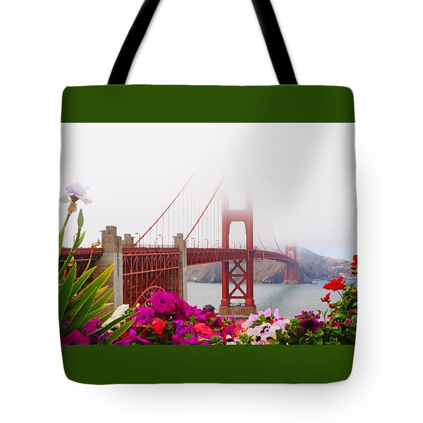 Golden Gate Bridge Flowers 2 Tote Bag