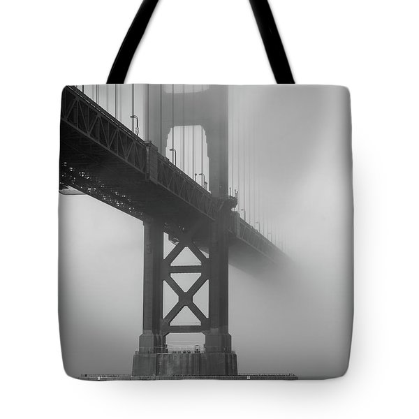 Tote Bag featuring the photograph Golden Gate Bridge Fog - Black And White by Stephen Holst