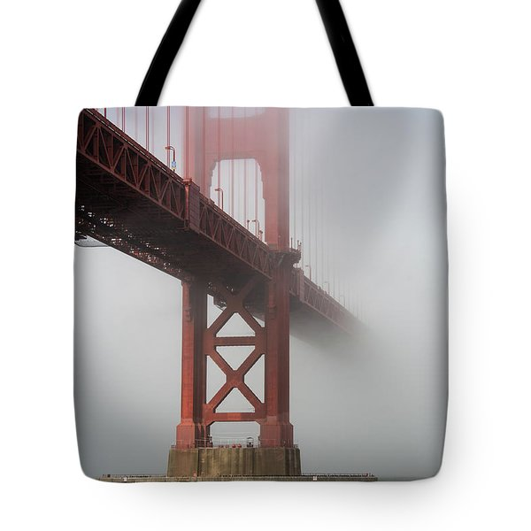 Tote Bag featuring the photograph Golden Gate Bridge Fog - Color by Stephen Holst
