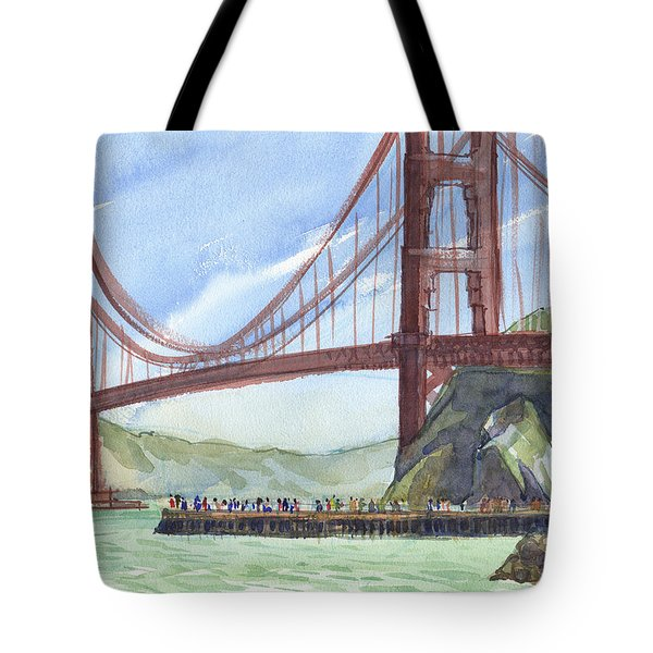 Tote Bag featuring the painting Golden Gate Bridge From Fort Baker, Ca by Judith Kunzle