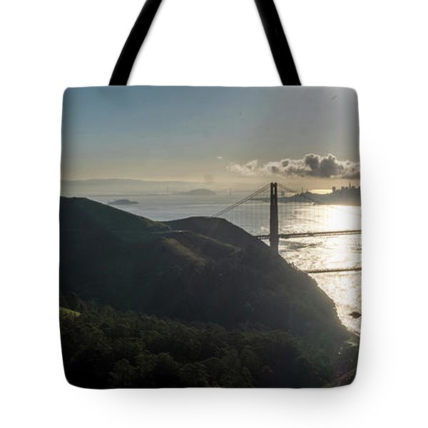 Golden Gate Bridge From The Road Up The Mountain Tote Bag